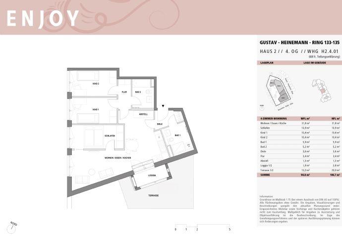 Helle 4-Zi-Wohnung mit großer Dachterrasse