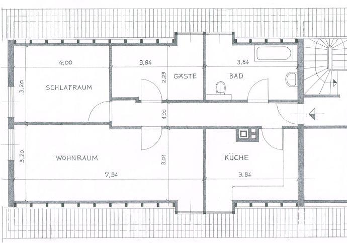 3ZKB Dachgeschosswohnung