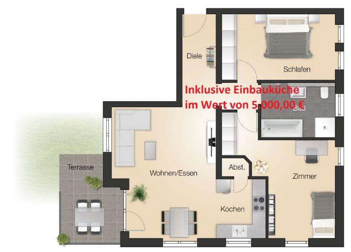 WOHNPARK in 1A-LAGE / Schöne 3-Zimmer-NEUBAU-Wohnung inkl. Küche (Wert 5.000,- €)