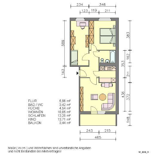 Drei-Raum-Wohnung mit Wanne in Waren (M)