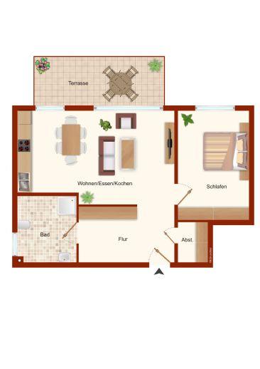 Attraktive 2 Zimmer Wohnung mit Terrasse  gehobene Ausstattung  Personenaufzug