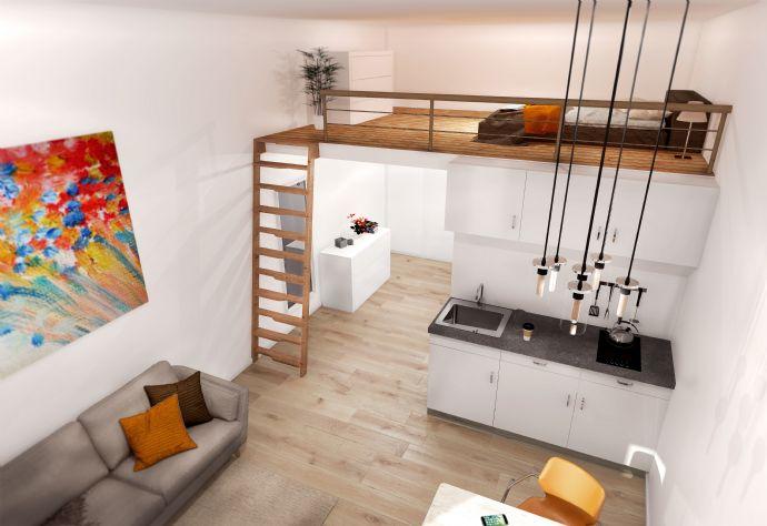 Wohnung für Hausmeister Hauswart 2 Zimmer Apartment mit Hochebene Terrasse EG Neubau Erstbezug EBK
