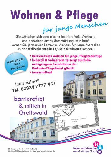 Wohnen & Pflege für Junge Menschen mitten in Greifswald
