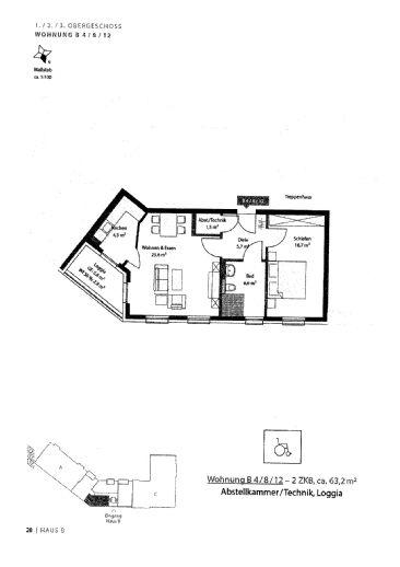 NEUBAU ERSTBEZUG Helle 2-Zimmer-Wohnung mit Blk in MA-Käfertal
